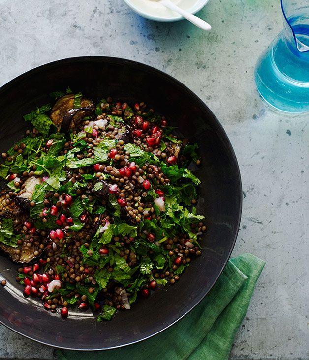 Australian Gourmet Traveller fast recipe for grilled eggplant salad with lentils and sesame yoghurt.