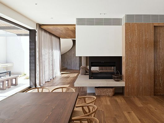 Yarra House by Leeton Pointon and Susi Leeton. contrast between wood and white. structural, scandanavian