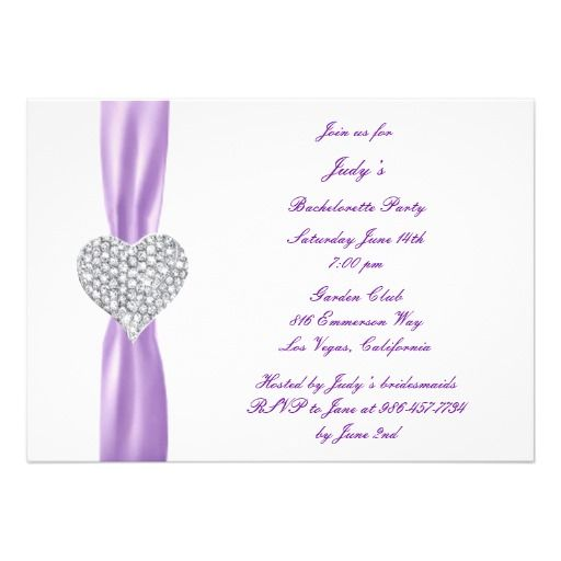 Diamond Heart Purple Bachelorette Party Invitation Personalize This To Make It Your Own Change
