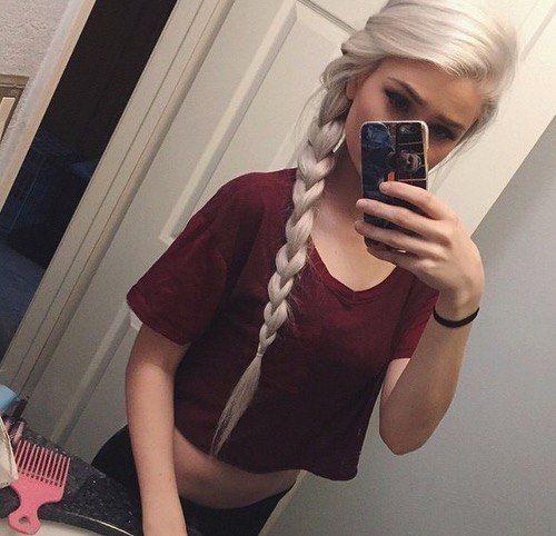 белые волосы, девушка, фото в зеркалье