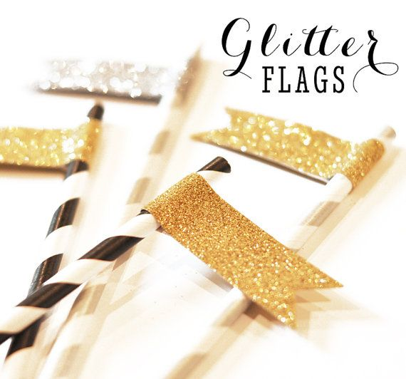 This will be the drink accessory option sent  Karen and MK will make in their video. Waiting on drink info to determine colors and materials.   Glitter Flags for Birthday, Bridal and Wedding Shower straws - these sparkly Glitter drink tags are easy to use - just peel and stick to your own