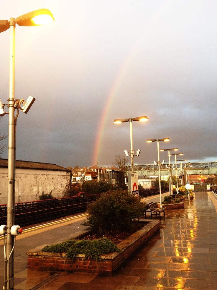 West Hampstead platform in damp evening sunlight