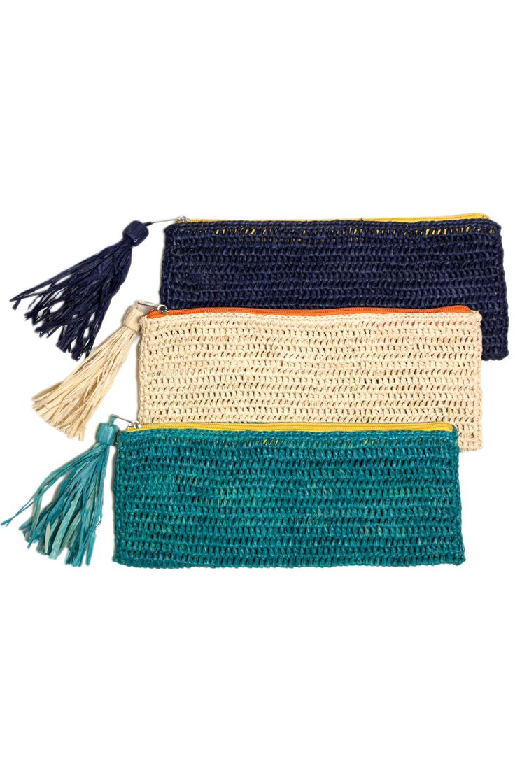Emily Crocheted Raffia Clutch by Mar Y Sol. Handmade in Madagascar.