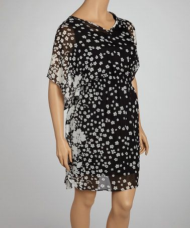 Take a look at this Black & White V-Neck Cape-Sleeve Dress - Plus by Olivia Matthews on #zulily today! $37 !!