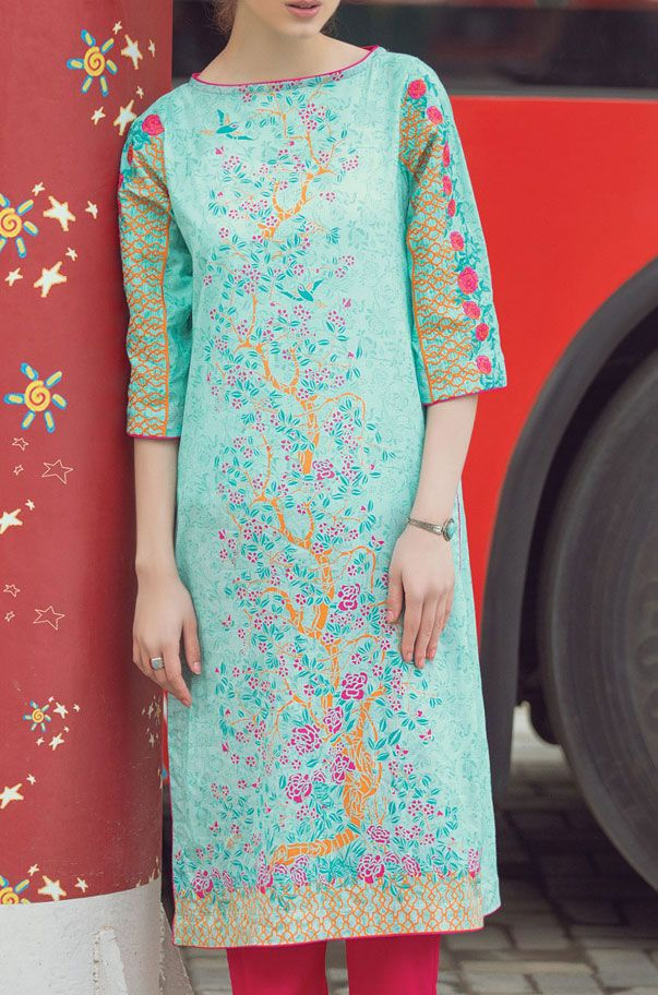 Buy Sea Green Embroidered Cotton Lawn Kurti by Alkaram 2016