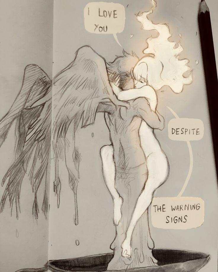 Fez de suas asas cera para manter a chama. Icarus foi para a luz do sol. Icarus despertou a paixão e morreu no doce toque do amor. Icarus se encontrou no voo para a liberdade da morte.