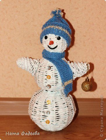 Мастер-класс Поделка изделие Новый год Плетение Снеговичoк-лесовичoк Бумага газетная Краска фото 1
