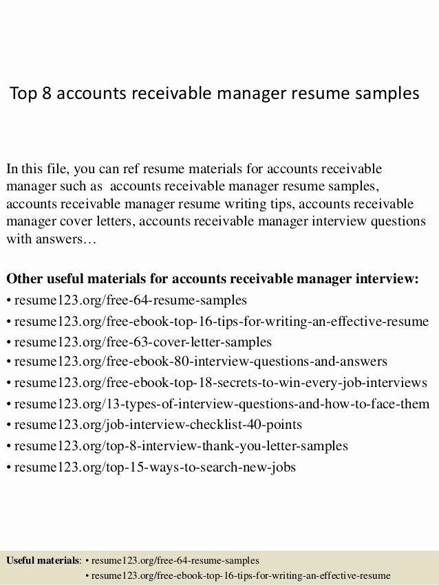 Accounts Receivables Resume Examples Luxury Accounts Receivable Manager Resumes Romes Danapardaz In 2020 Job Resume Samples Manager Resume Security Resume