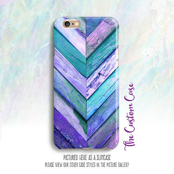 Turquoise and Purple Rustic Wood Chevron Phone Case Reclaimed