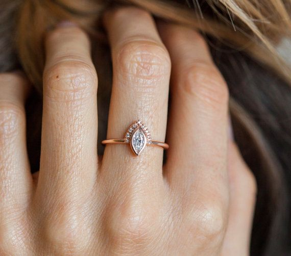 Gold Engagement Ring Rose Gold Diamond Ring Delicate by MinimalVS
