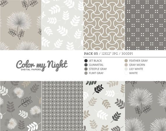 Digital Paper Neutral 'Pack05' Floral Leaves Dots by ColorMyNight