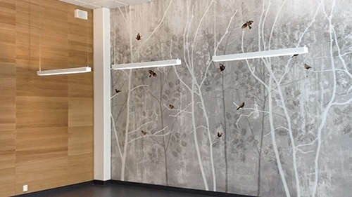 "St. Olavs hospital in Trondheim Norway using wallpaper ""Romeo & Juliet"" by Scandinavian surface."