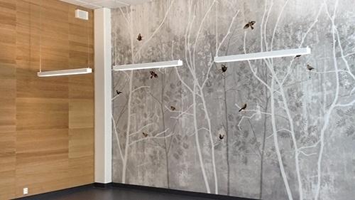 "St. Olavs hospital in Trondheim Norway using wallpaper ""Romeo & Juliet"" by Scandinavian surface."
