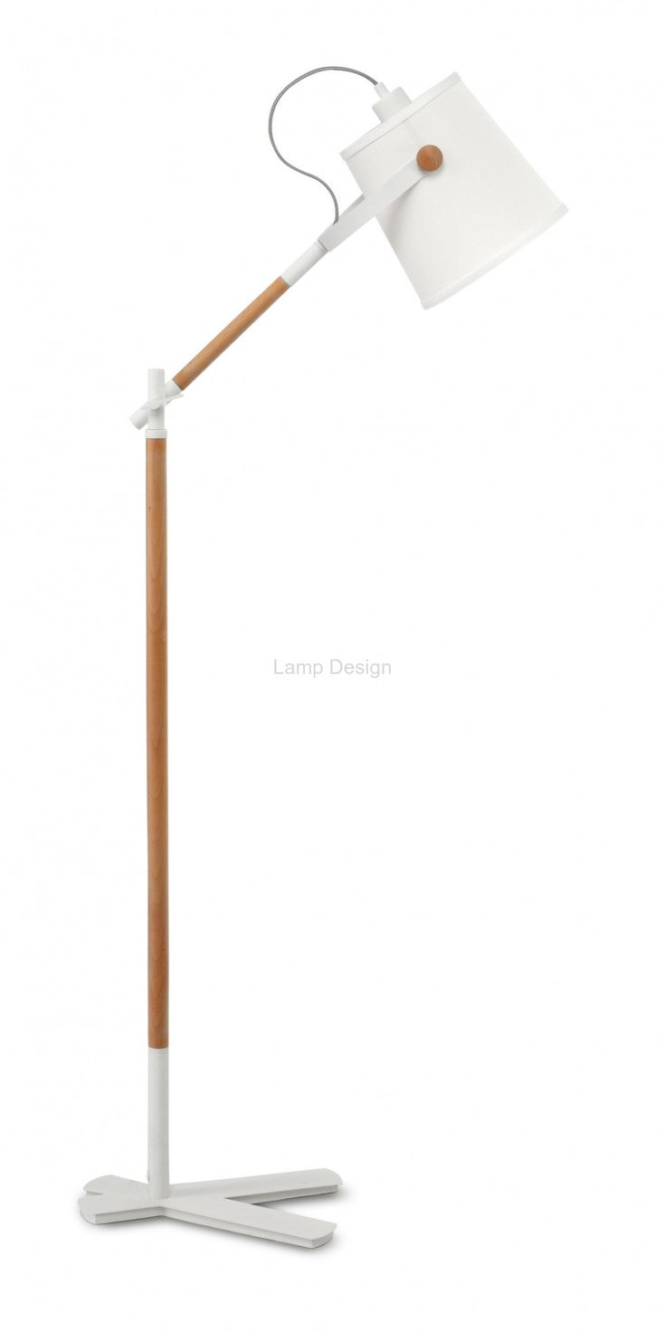 4920 Nordica lampa podłogowa z drewnem i białym abażurem Lamp Design