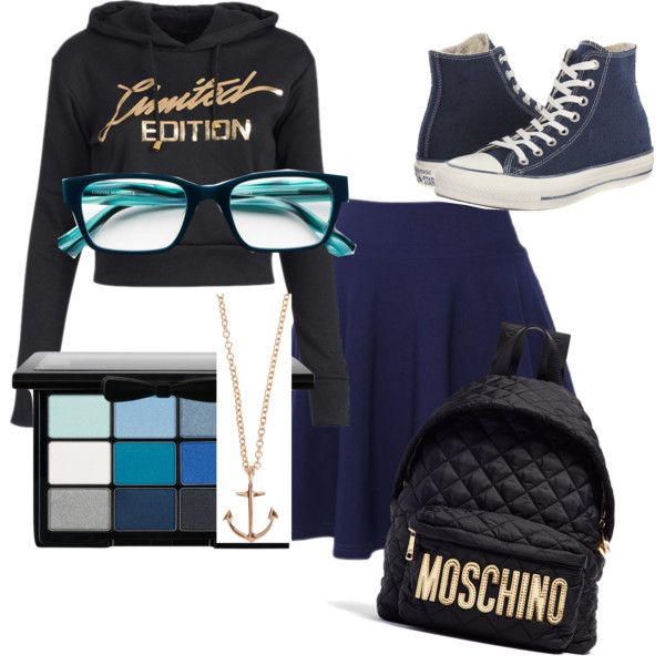 Cute nerd by rowniezhao on Polyvore featuring polyvore, fashion, style, QNIGIRLS, Converse, Moschino, Minor Obsessions, Corinne McCormack and NYX