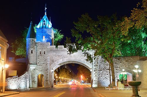 Porte Dauphine in Quebec City by at night in Quebec City