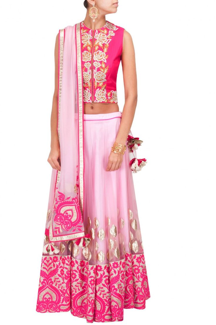 Pink embroidered lehenga with fuchsia silk blouse available only at Pernia's Pop-Up Shop.
