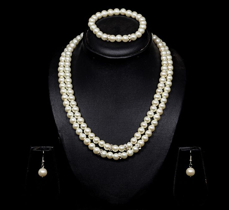 2 line pearl necklace set with earrings at bookflowers.com