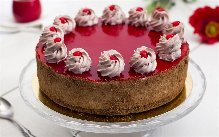 Download wallpapers holiday cake, sweets, cherry cake, chocolate cakes, pastries, cheesecake
