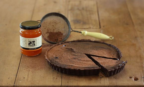 Bittersweet Chocolate and Apricot Jam Tart with Creme Fraiche - Maggie Beer