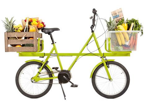 Donky Bike can carry heavy loads on its front and rear platforms, by British industrial designer Ben Wilson