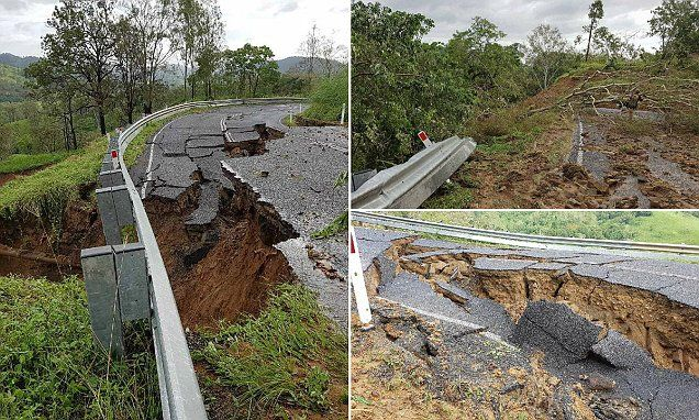 Images show a highway cracked in two amid aftermath of Cyclone Debbie