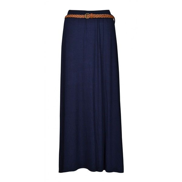 Antonella Navy Belted Jersey Maxi Skirt found on Polyvore