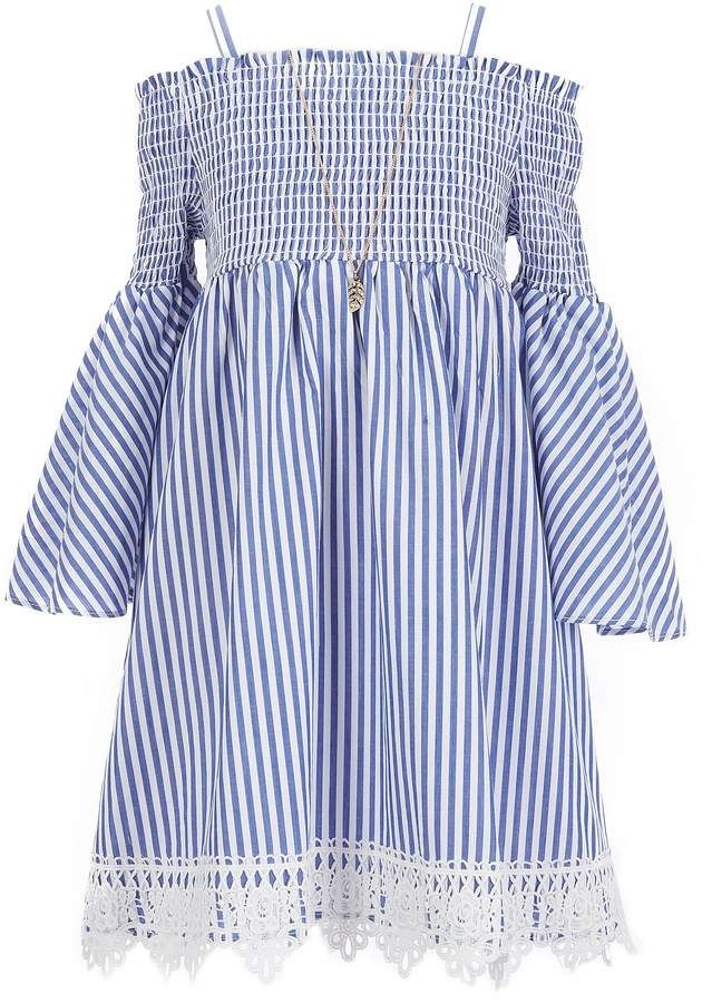 5e9b6380c Rare Editions Big Girls 7-16 Smocked Striped Shift Dress
