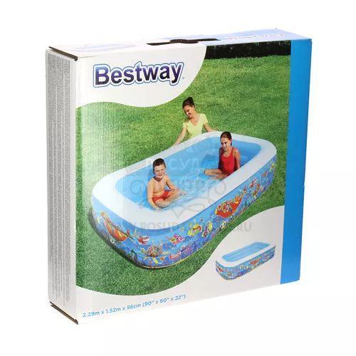 1863=Прямоугольный бассейн Подводный мир Bestway, 229х152х56 см, 702л