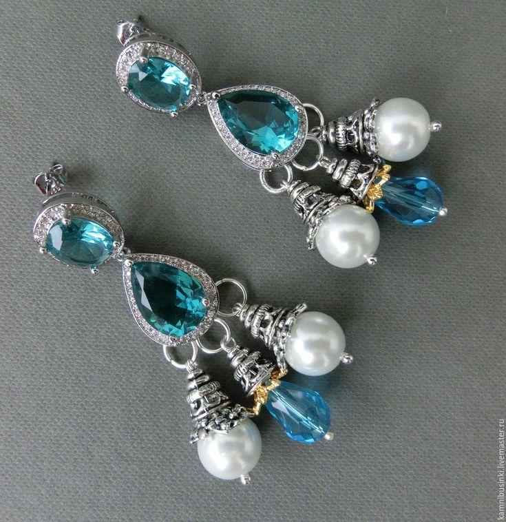 Купить Серьги с голуым топазом жемчугом серебро 925 позолота - авторские украшения