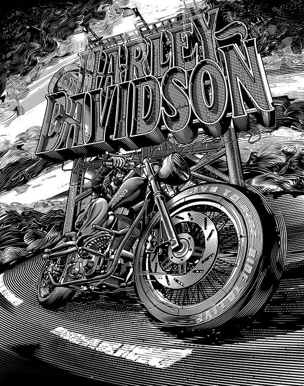 Harley Davidson Illustrations