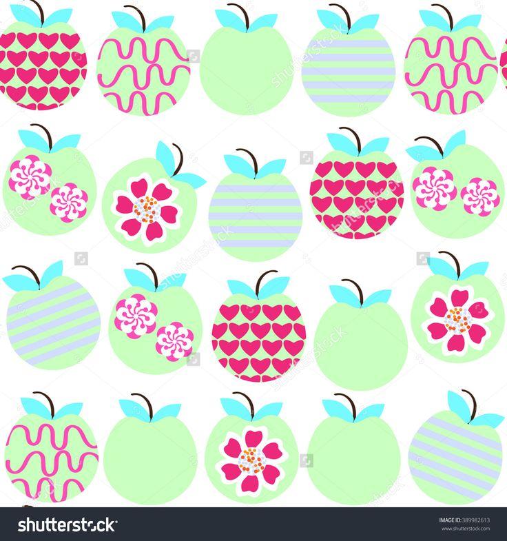 #RF #vector #apples #seamless #pattern #hearts #lines #curls #flowers #floral #food #healts #fantasy