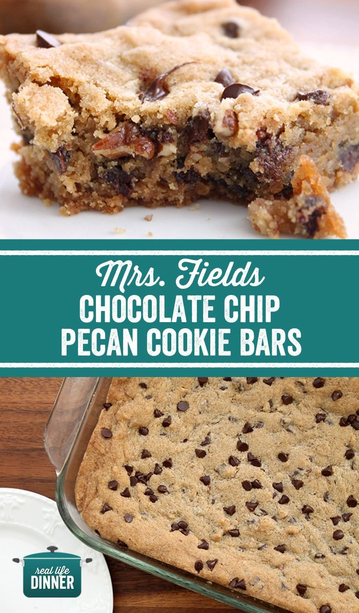 If you love Mrs. Fields Cookies, you will LOVE these bars. So delicious and such and easy recipe. Nothing fancy, but fierce flavor!!! ~ http://reallifedinner.com