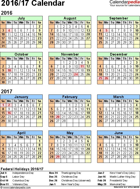 Template 2: Word template for split year calendar 2016/2017 (portrait orientation, 1 page)