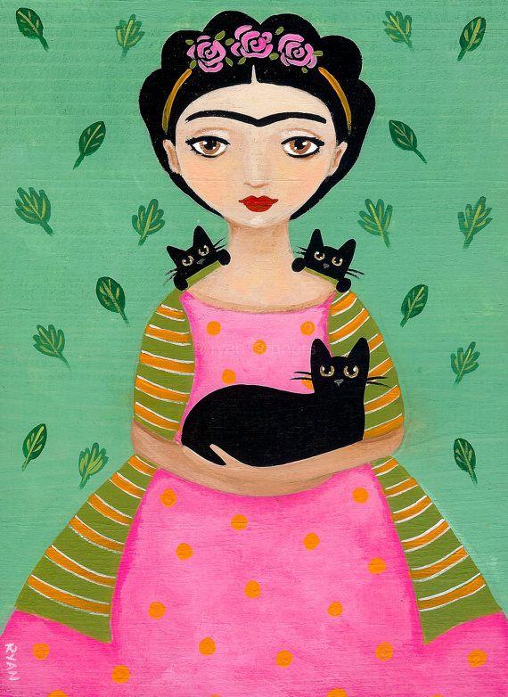 Fridas Black Cats Original Cat Folk Art Painting by KilkennycatArt