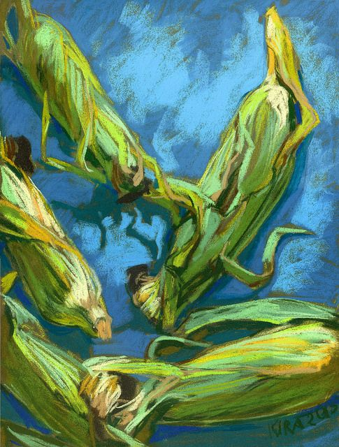 Corns on Blue Tablecloth  available for purchase  #corn #impressionism #stillLife #sell