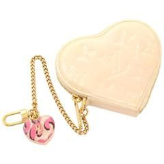 Louis Vuitton Porte Monnaies Cruer Beige Vernis Leather Heart Shaped Coin Case