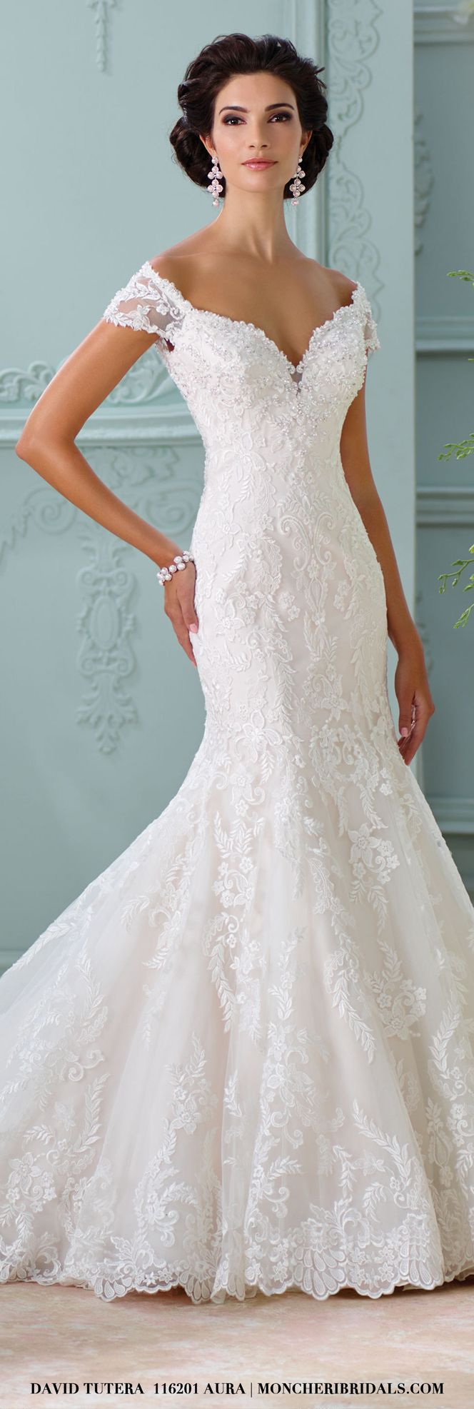 116201 – Aura. Off the shoulder Venise lace wedding dress by David Tutera for Mon Cheri.  In depth details & more photos can be found at moncheribridals.com #laceweddingdresses