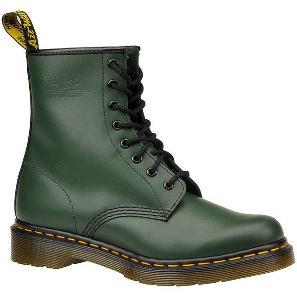 Dr Martens 1460 8 Eye Boot ($125) ❤ liked on Polyvore featuring shoes, boots, green, green shoes, stitch shoes, dr martens shoes, dr. martens and ski shoes