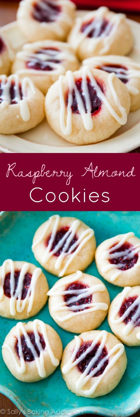 An easy recipe for delicious Raspberry Almond Thumbprint Cookies with a visual step-by-step tutorial on making shortbread.