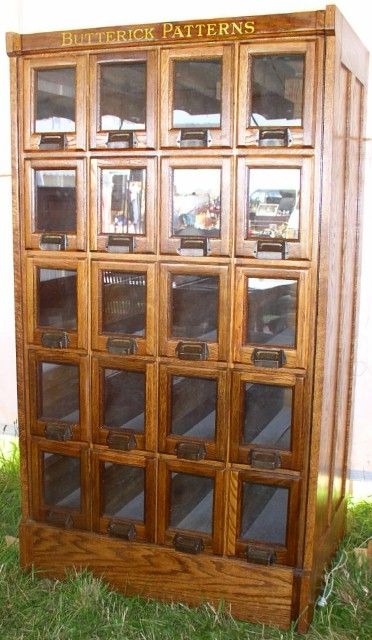 OH! Be still my heart.................Oak Butterick Pattern Cabinet, 20 Glass Front Drawers. How amazing would it be to have THIS in your sewing room??