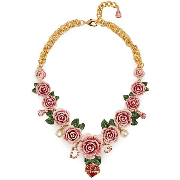 Dolce & Gabbana Rose-embellished necklace ($2,000) ❤ liked on Polyvore featuring jewelry, necklaces, gold, initial charms, chunky heart necklace, heart charm, heart necklace and initial necklace