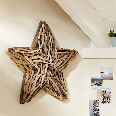 Ashley from The Handmade Home was on a beach vacation when she saw a decorative wall star made from driftwood in a Pottery Barn catalog. It must have been destiny since she was surrounded by oodles and bahoodles of driftwood. Ashley collected some small flat pieces and glued them onto a star cut from thin MDF. Ashley suggests trying this with all kinds of natural materials – twigs, shells, sea glass, pebbles, wood chips, and the list goes on!