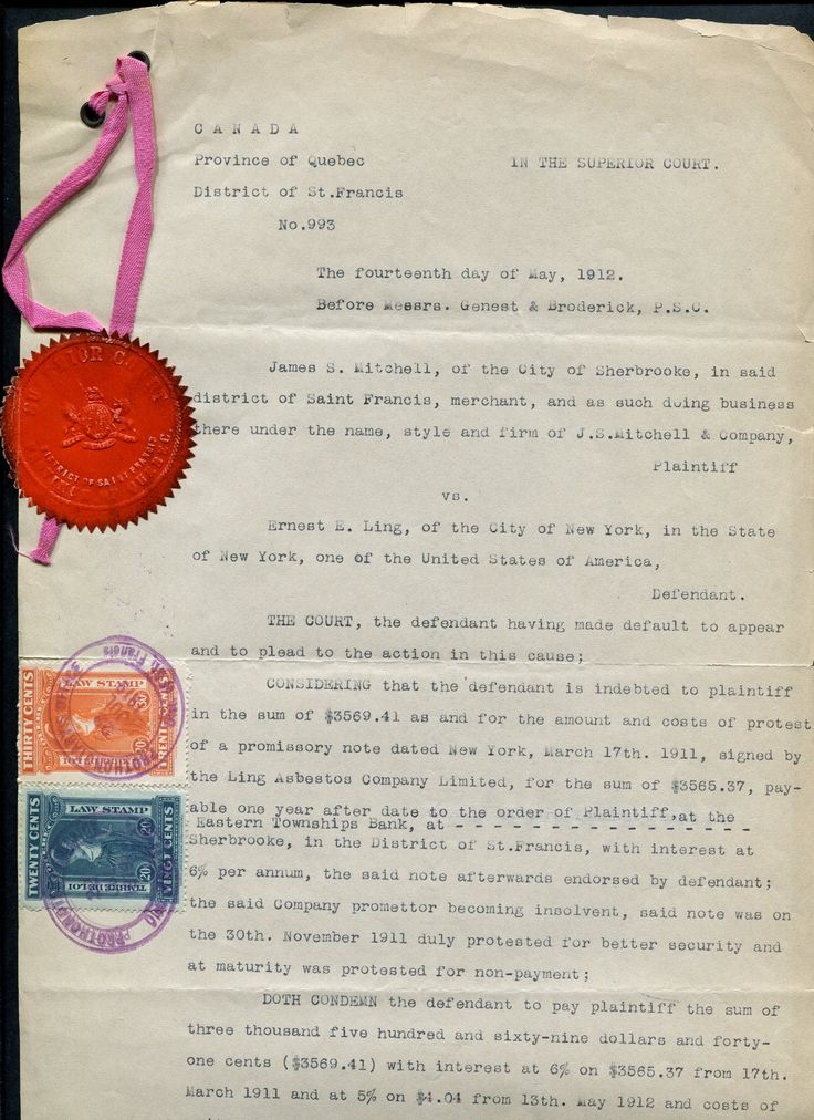 Two Canadian revenue stamps (20c/30c) on the Court judgment document of the providence of Quebec. The Document date is 14th May 1912.and the Superior Court's seal of Quebec (distric of Saint Francis) is attached to the document