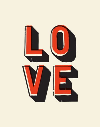 Love Offset Typography Print by The Motivated Type