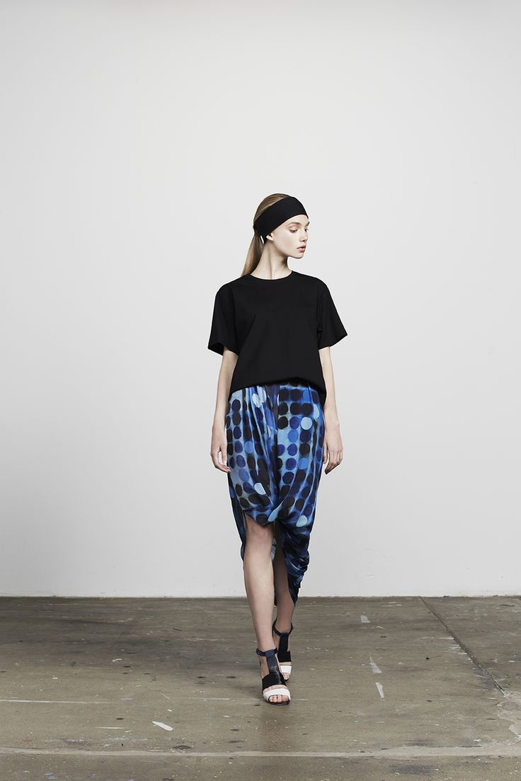 Aqua boxie shirt worn with Haylock twisted drape skirt