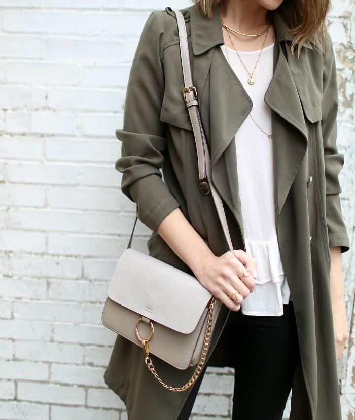 Grey crepe coat, grey crossbody purse. neutrals