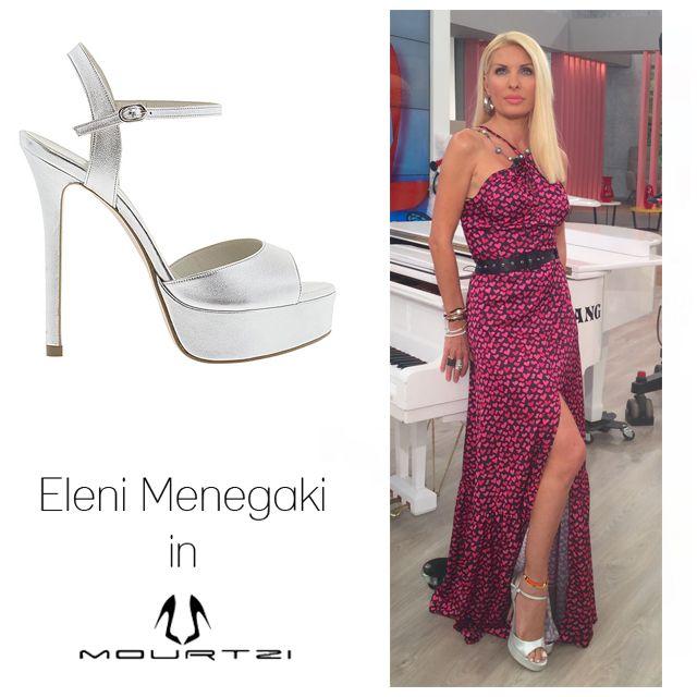 ΕΛΕΝΗ ΜΕΝΕΓΑΚΗ Eleni Menegaki in Mourtzi shoes #Mourtzi #eleni #elenimenegaki #sandals #heels #metallics