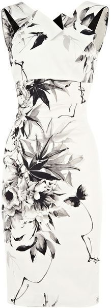 Karen Millen Oriental Floral Print On in White (cream)