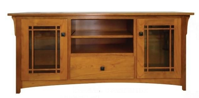 Amish One Drawer Modesto Widescreen TV Console Organize collections for entertaining in the Amish One Drawer Modesto Widescreen TV Console. Offers option to add glass or wood shelves. #Amishmadefurniture